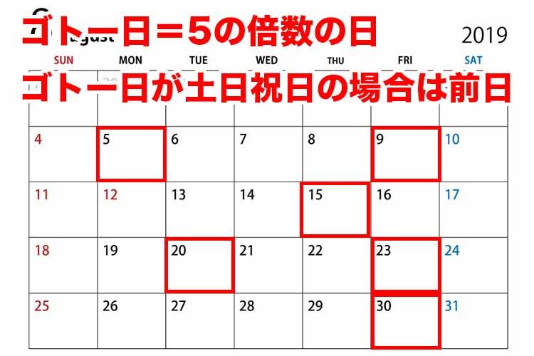 ゴトー日カレンダー