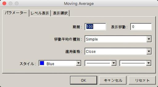 移動平均線の設定