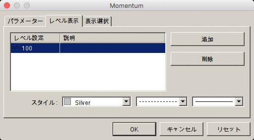 モメンタム設定画面の「レベル表示」から100を追加