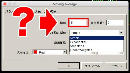 移動平均線の日数の設定